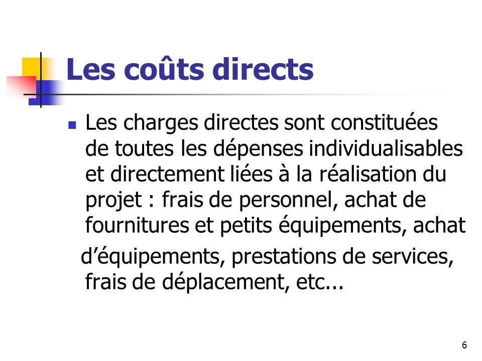 Les coûts directs