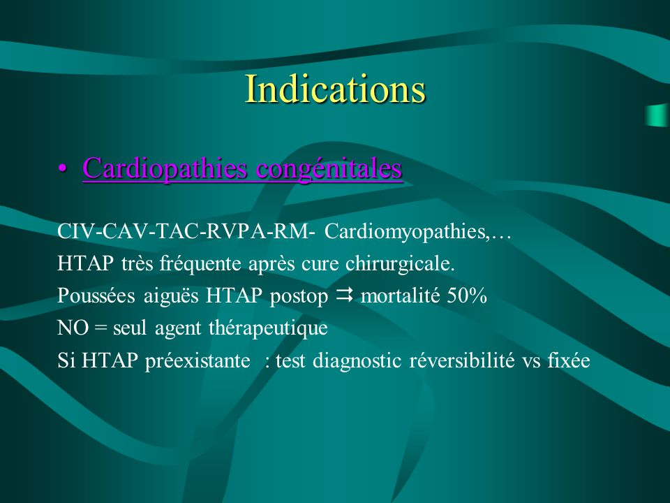 Indications Cardiopathies congénitales