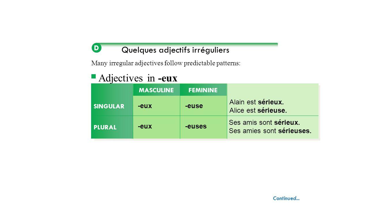 Quelques adjectifs irréguliers