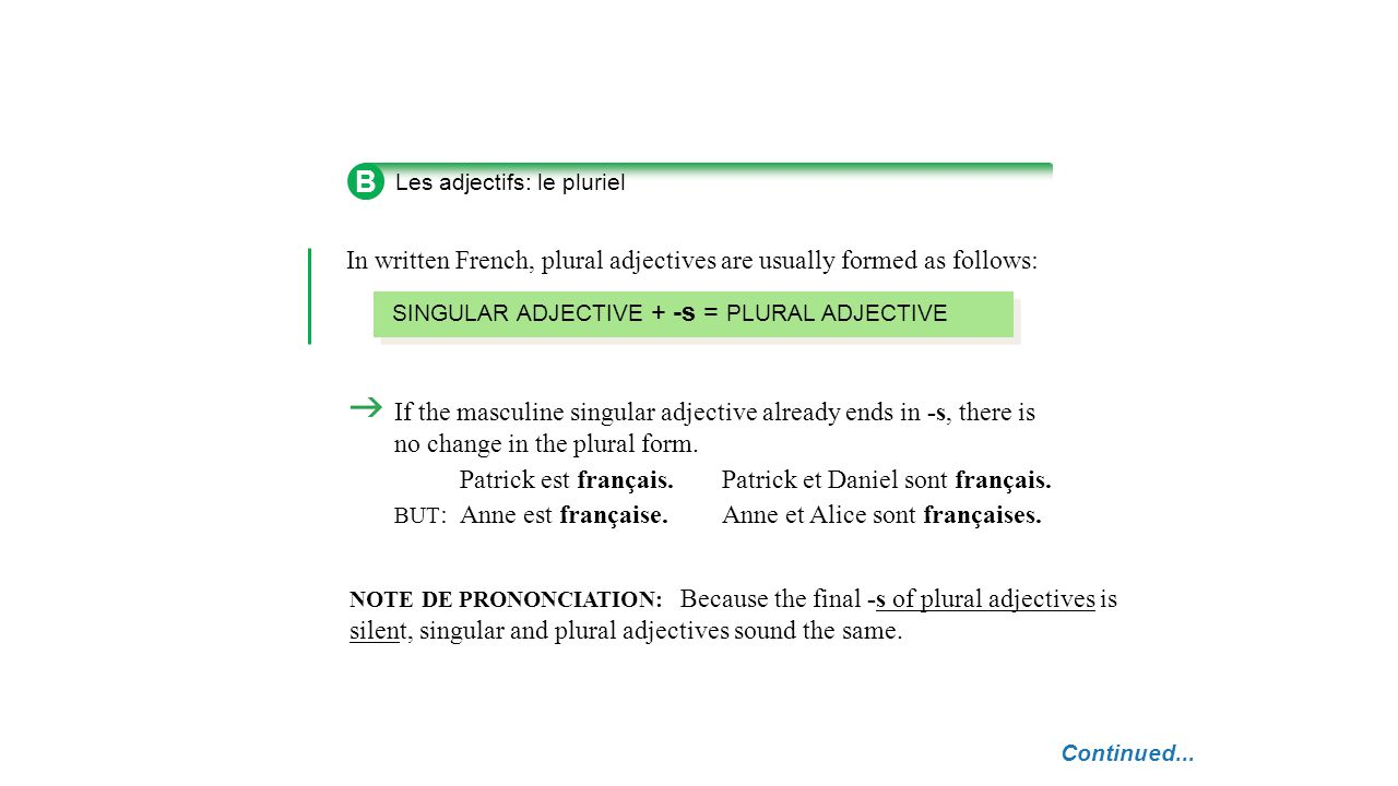 B In written French, plural adjectives are usually formed as follows: