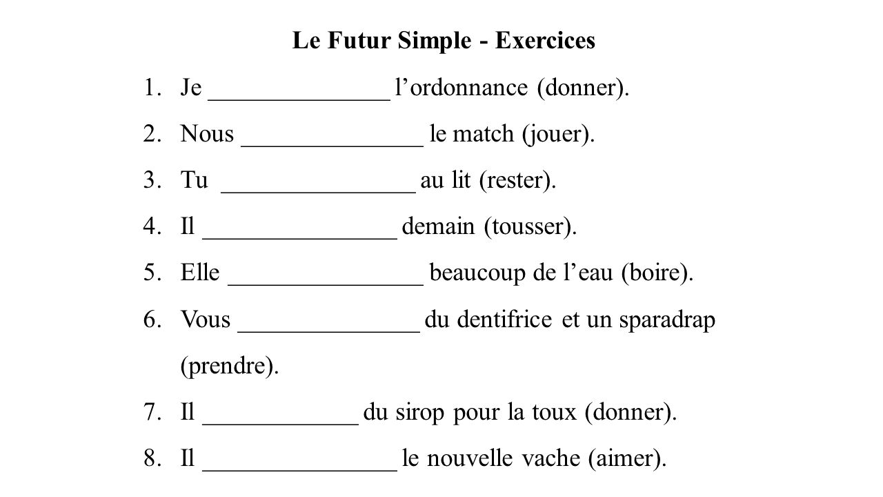 Le Futur Simple - Exercices