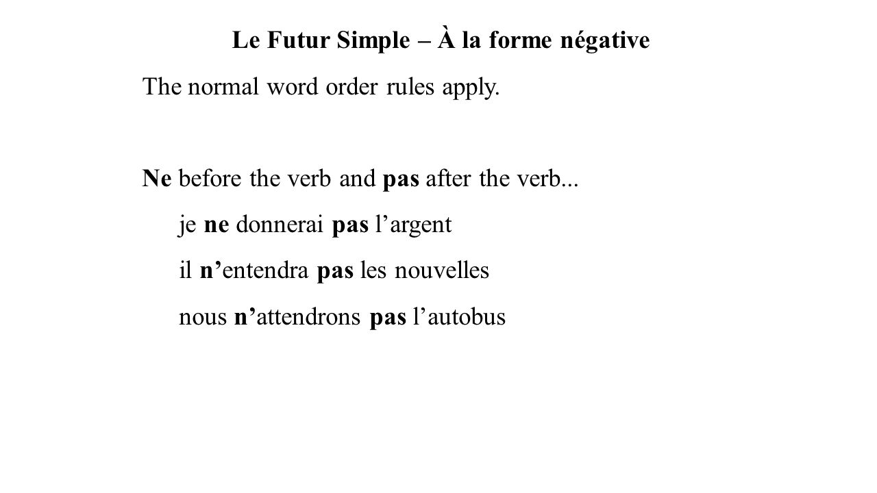 Le Futur Simple – À la forme négative