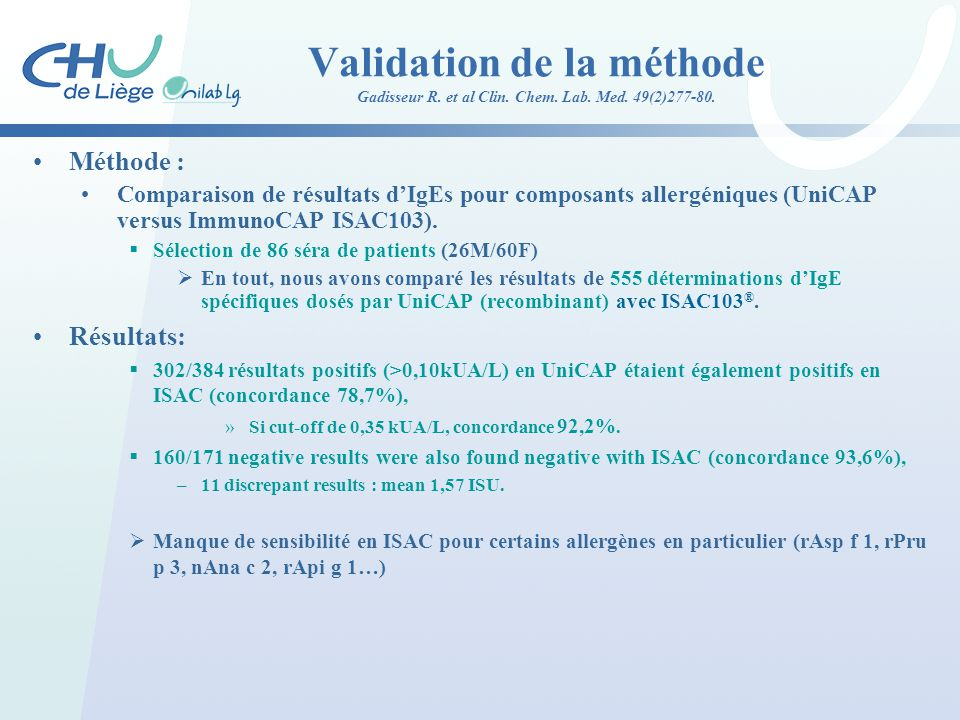 Validation de la méthode Gadisseur R. et al Clin. Chem. Lab. Med