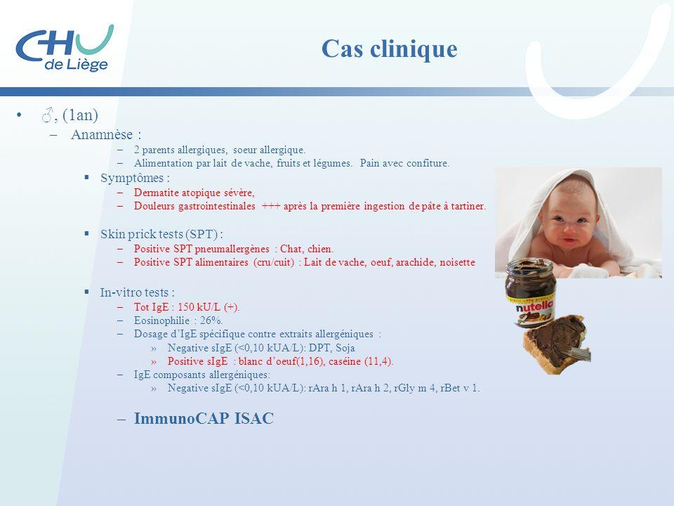 Cas clinique ♂, (1an) ImmunoCAP ISAC Anamnèse : Symptômes :