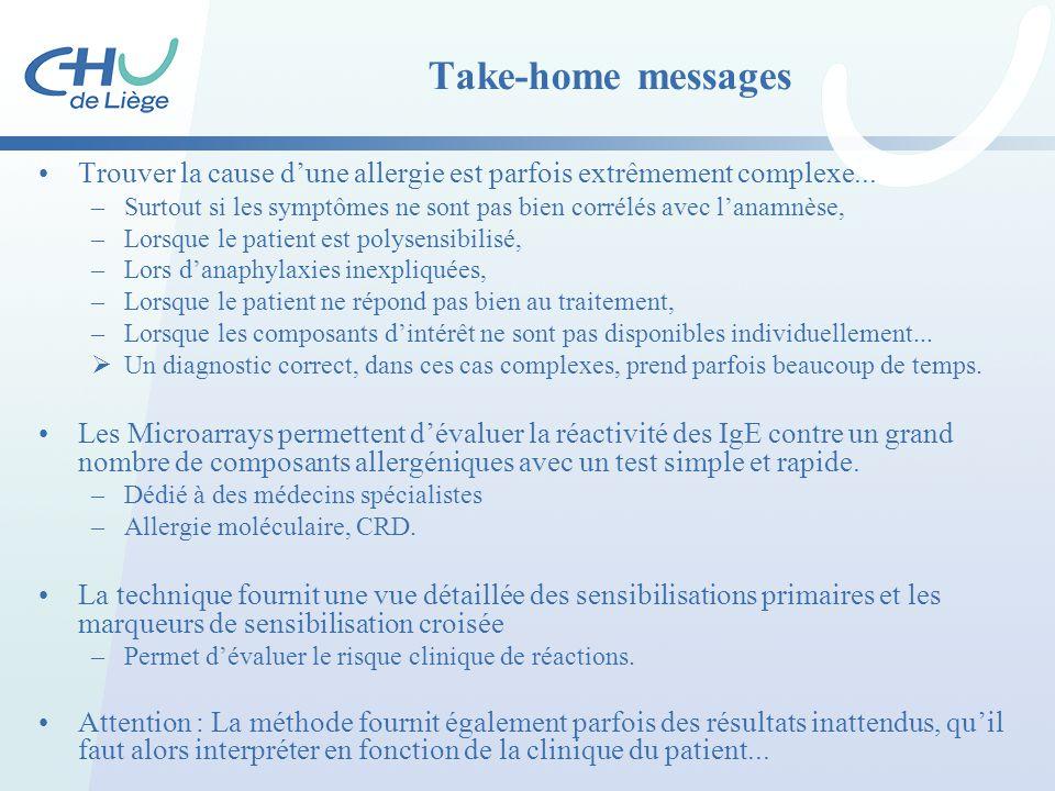 Take-home messages Trouver la cause d'une allergie est parfois extrêmement complexe...