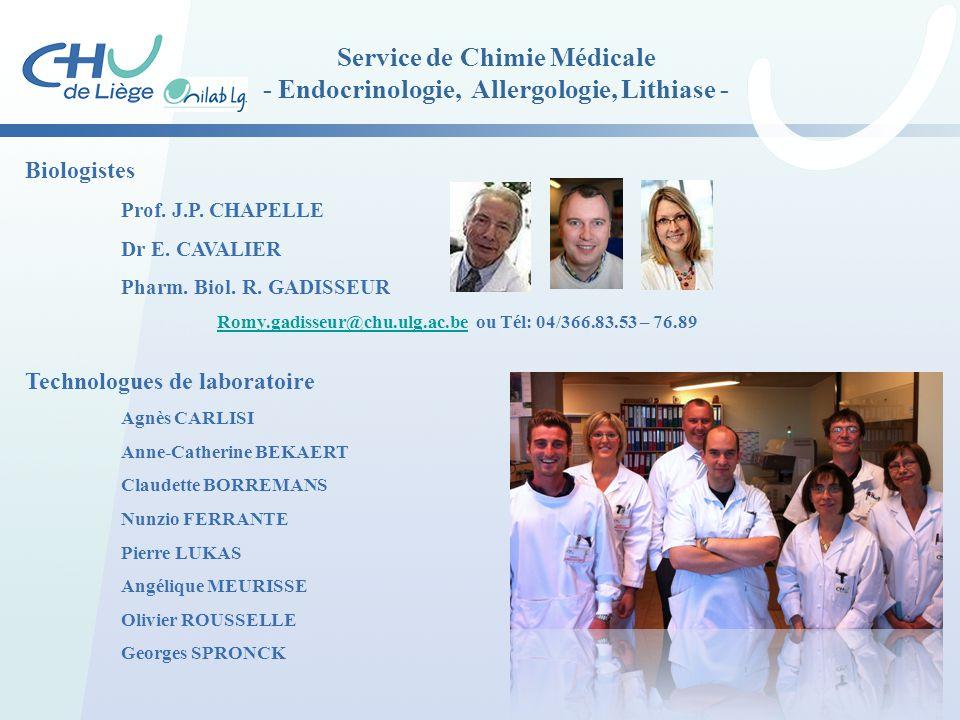 Service de Chimie Médicale - Endocrinologie, Allergologie, Lithiase -