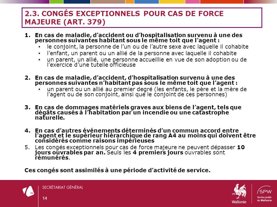 2.3. Congés exceptionnels pour cas de force majeure (art. 379)
