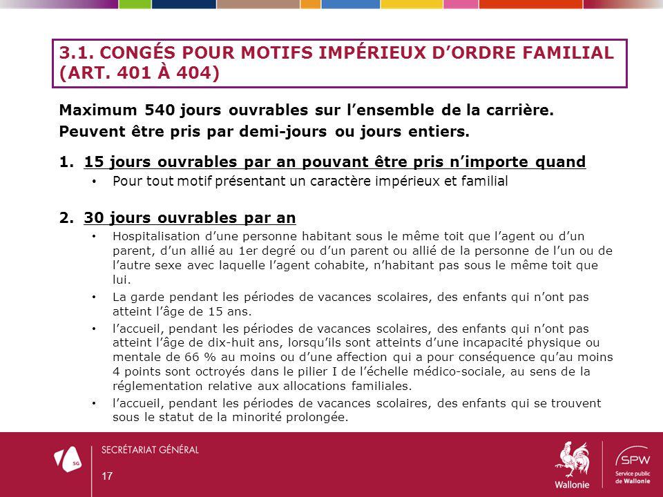 3.1. Congés pour motifs impérieux d'ordre familial (art. 401 à 404)