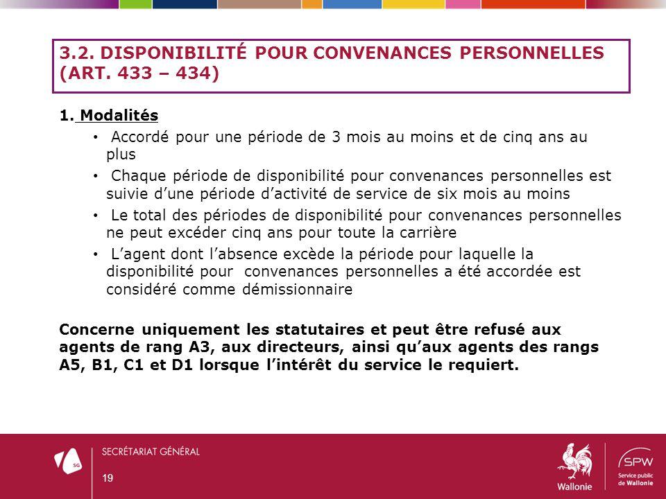 3.2. Disponibilité pour convenances personnelles (art. 433 – 434)