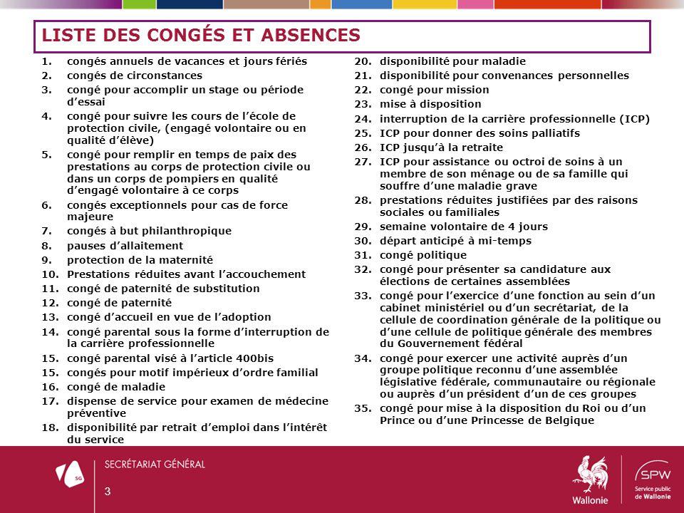 Liste des congés et absences