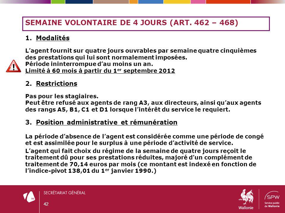 Semaine volontaire de 4 jours (art. 462 – 468)