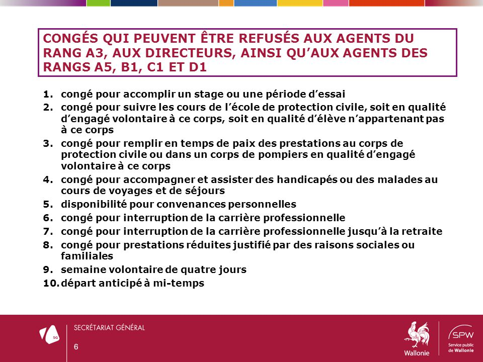 Congés qui peuvent être refusés aux agents du rang A3, aux directeurs, ainsi qu'aux agents des rangs A5, B1, C1 et D1
