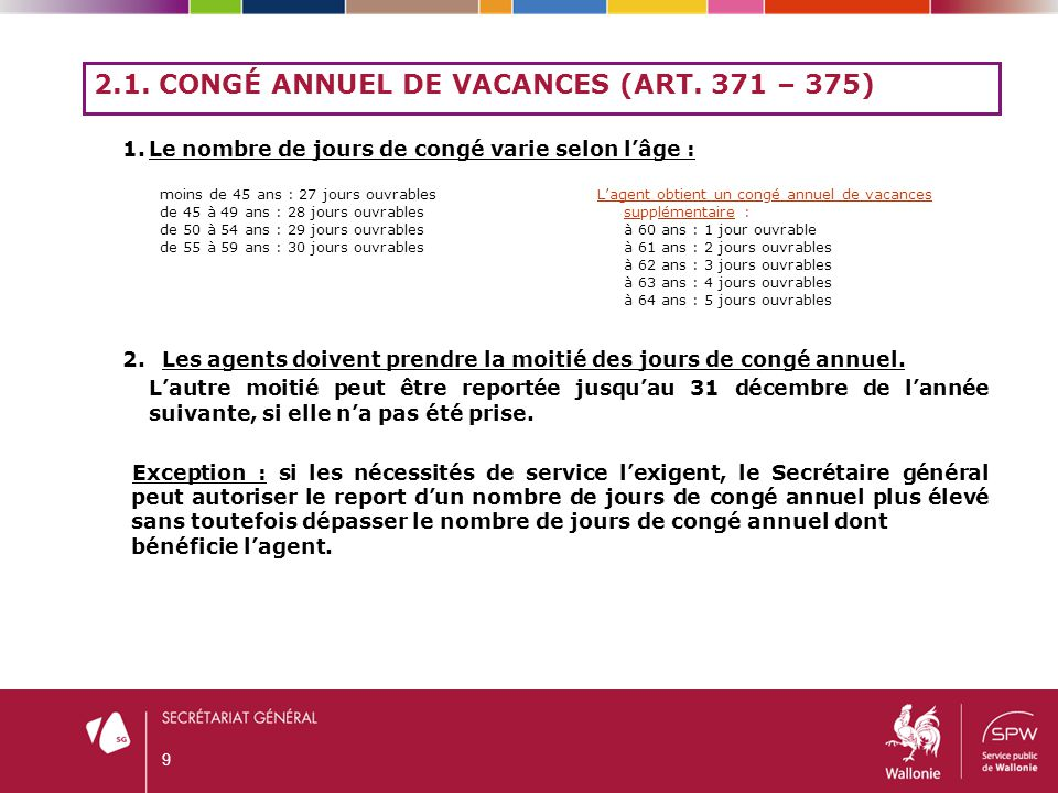 2.1. Congé annuel de vacances (art. 371 – 375)