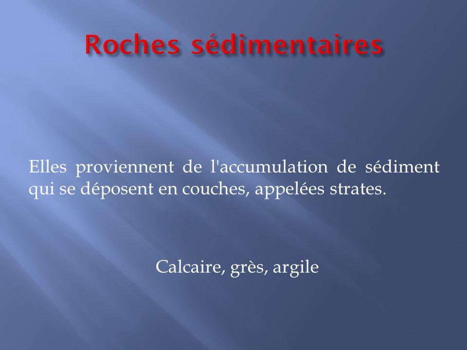 Roches sédimentaires Elles proviennent de l accumulation de sédiment qui se déposent en couches, appelées strates.