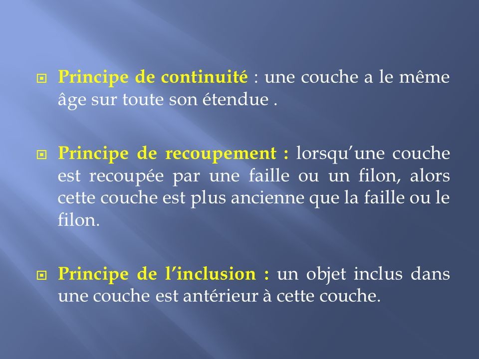 Principe de continuité : une couche a le même âge sur toute son étendue .