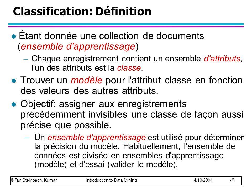 Classification: Définition