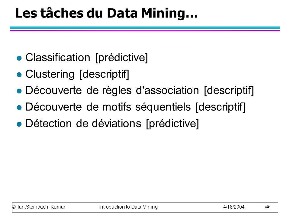Les tâches du Data Mining…