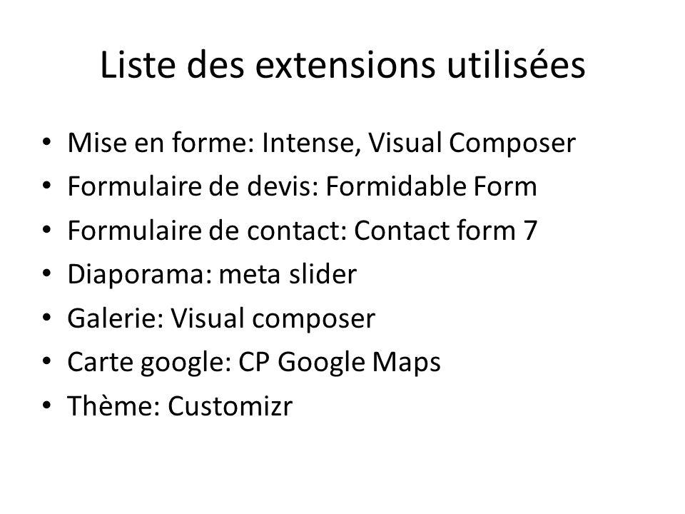 Liste des extensions utilisées