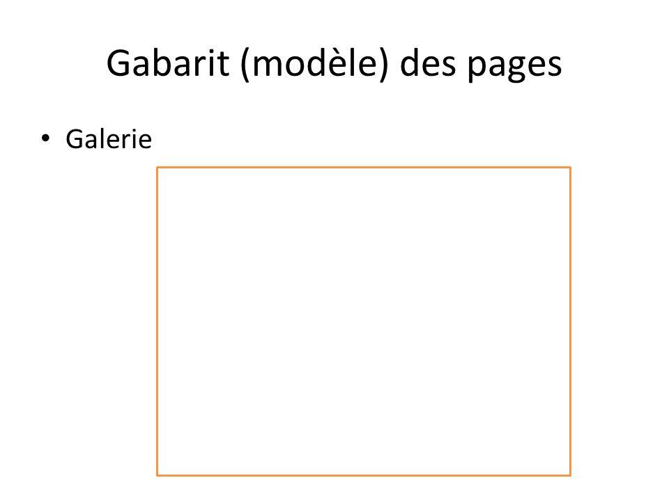 Gabarit (modèle) des pages