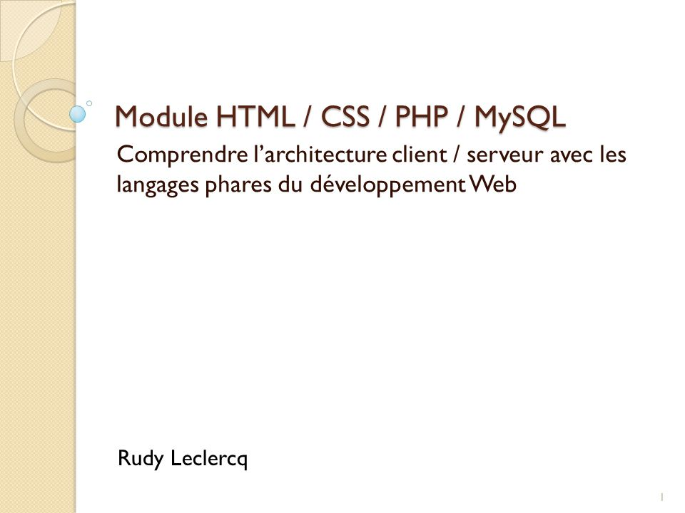 Module HTML / CSS / PHP / MySQL
