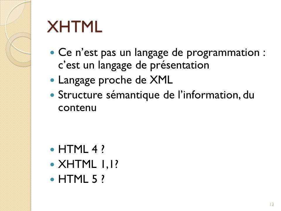 XHTML Ce n'est pas un langage de programmation : c'est un langage de présentation. Langage proche de XML.