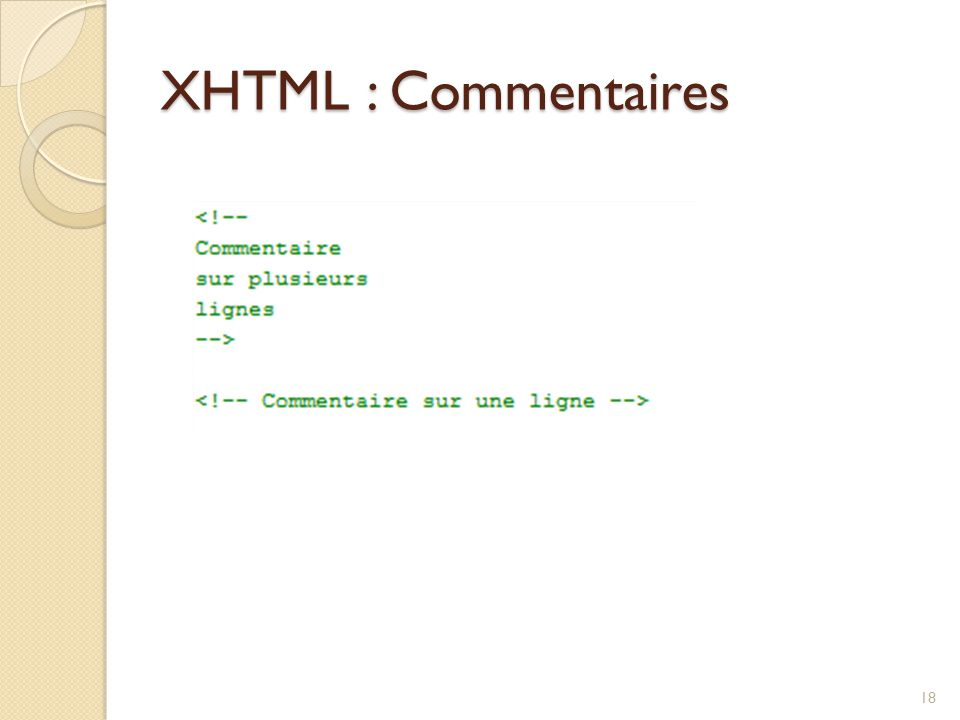 XHTML : Commentaires
