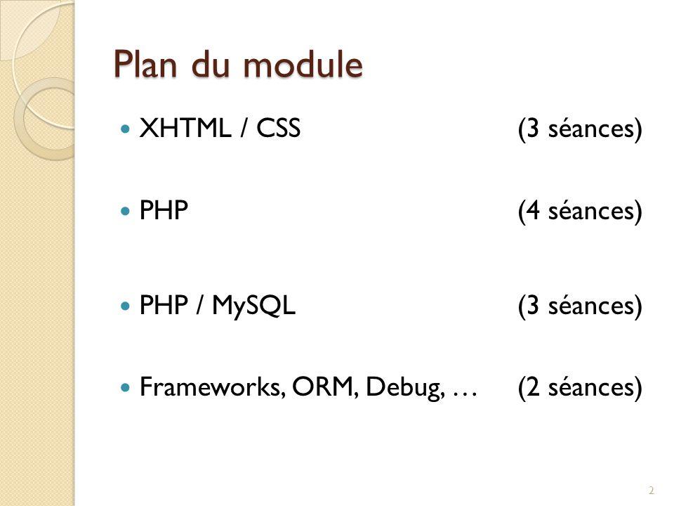 Plan du module XHTML / CSS (3 séances) PHP (4 séances)