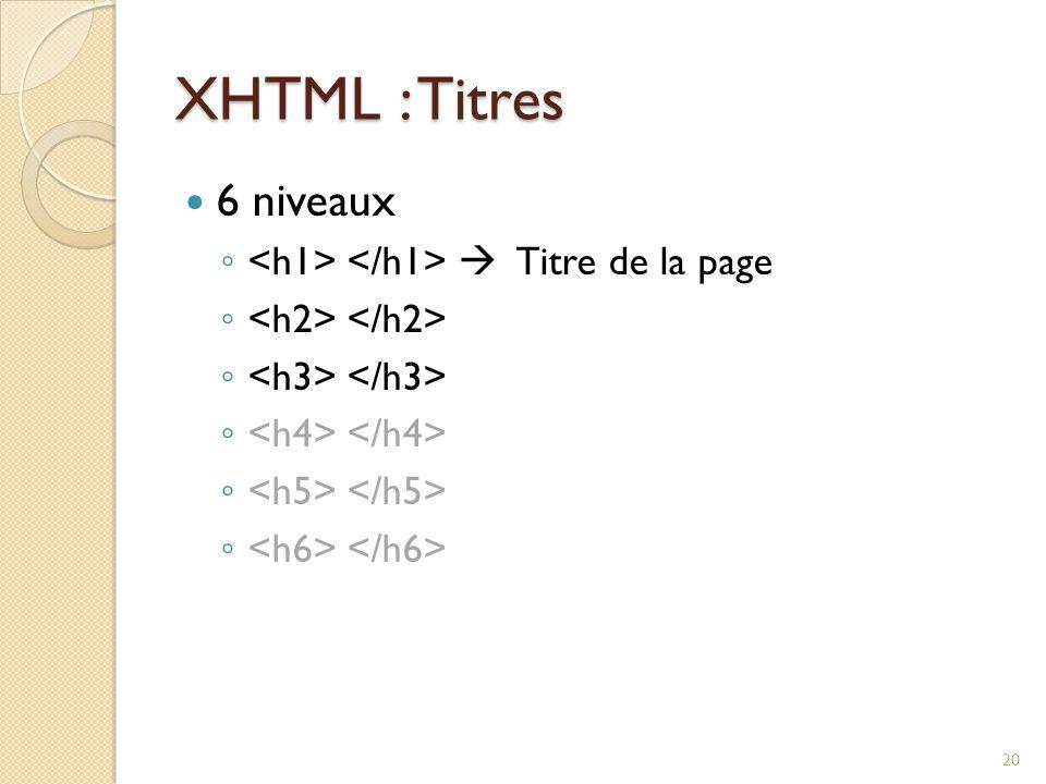 XHTML : Titres 6 niveaux <h1> </h1>  Titre de la page