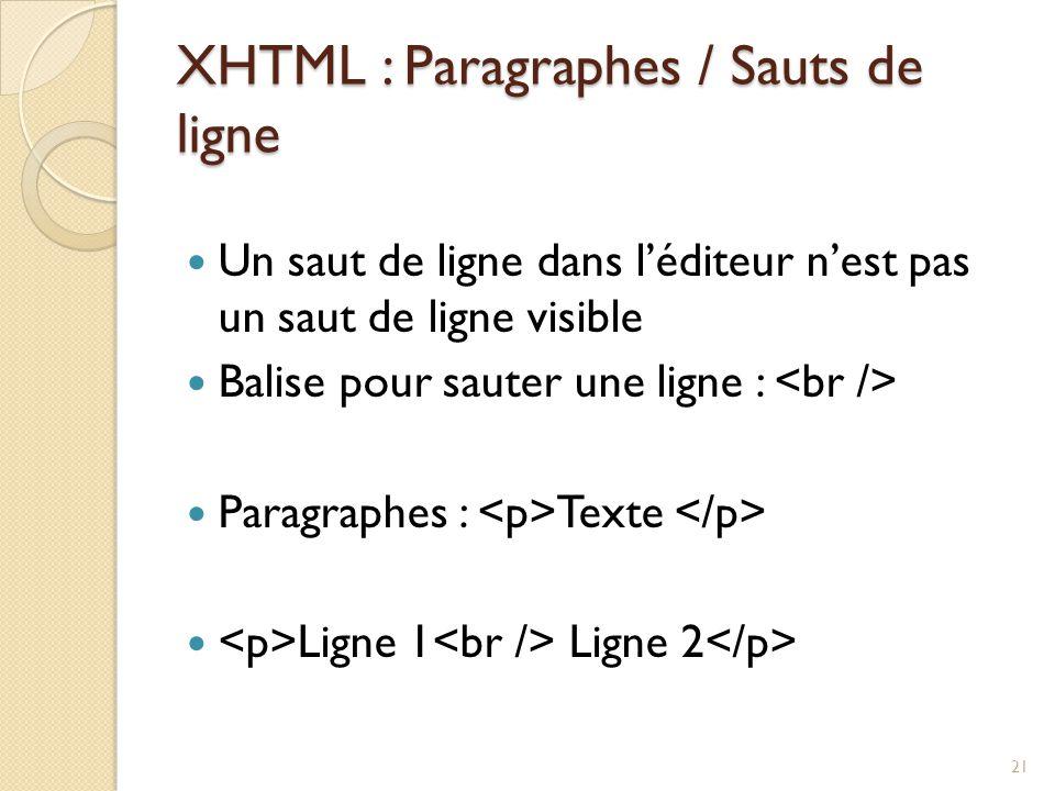XHTML : Paragraphes / Sauts de ligne