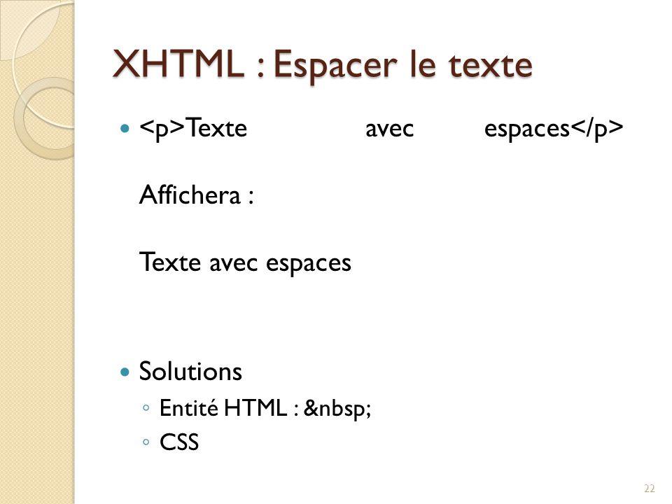 XHTML : Espacer le texte