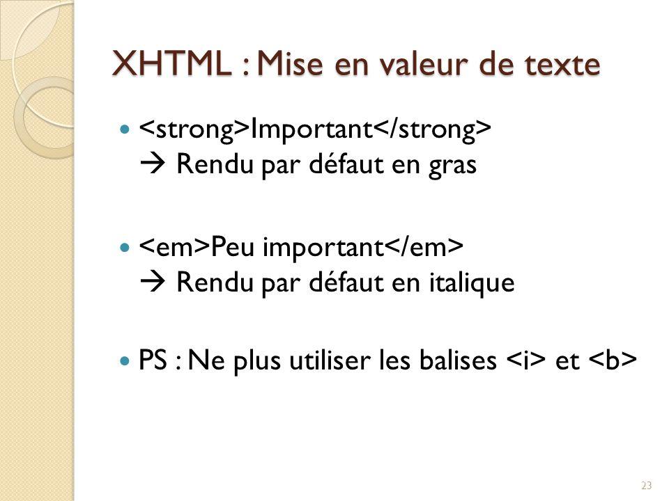 XHTML : Mise en valeur de texte