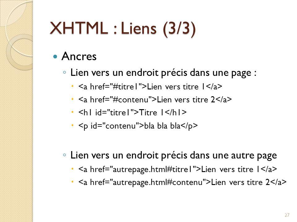 XHTML : Liens (3/3) Ancres Lien vers un endroit précis dans une page :