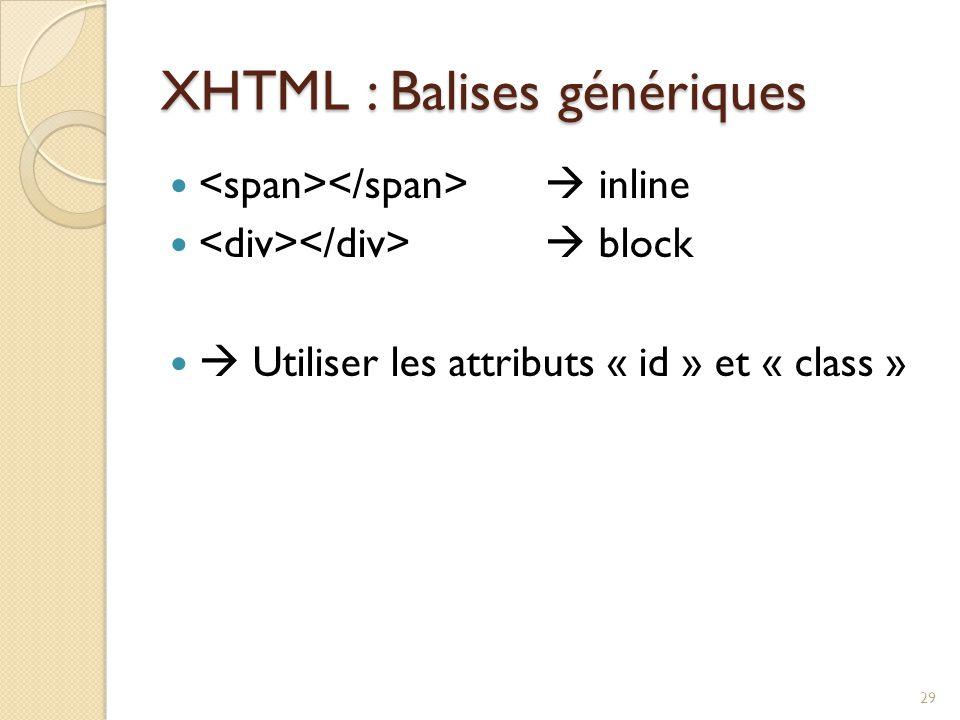 XHTML : Balises génériques
