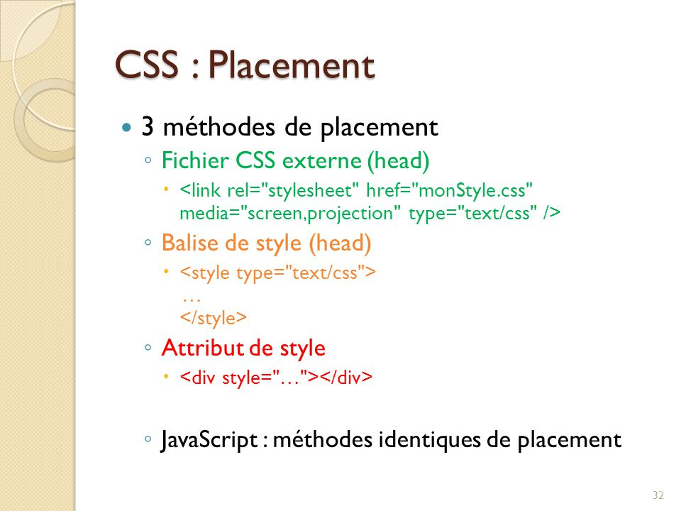CSS : Placement 3 méthodes de placement Fichier CSS externe (head)