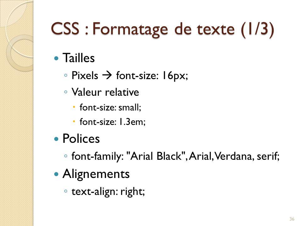 CSS : Formatage de texte (1/3)