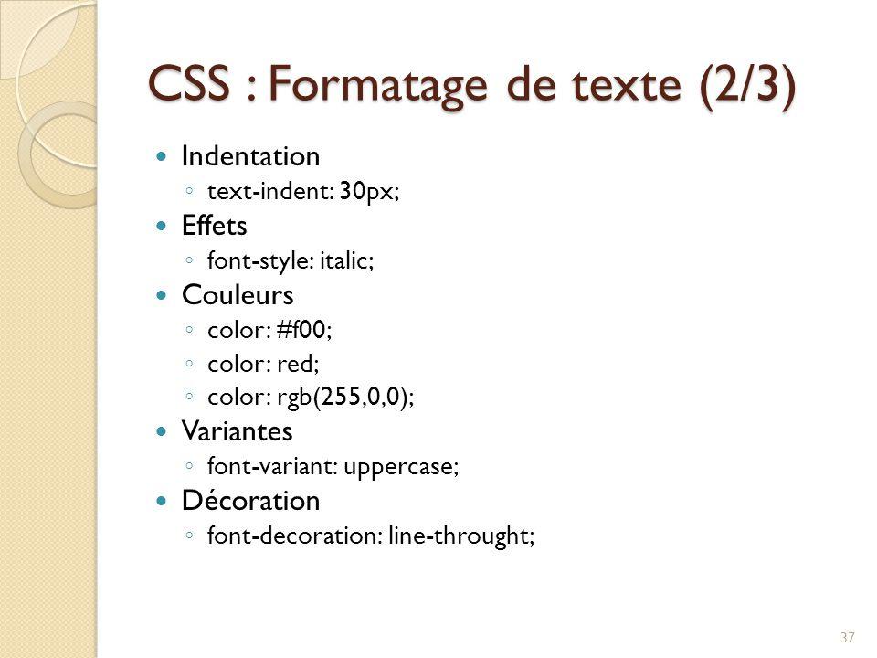 CSS : Formatage de texte (2/3)