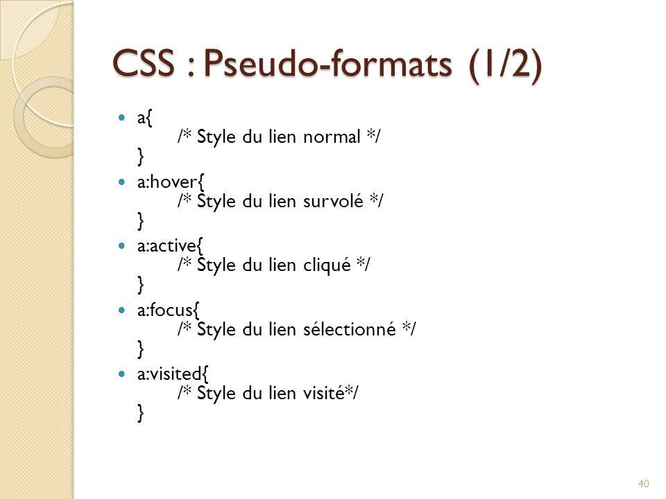 CSS : Pseudo-formats (1/2)
