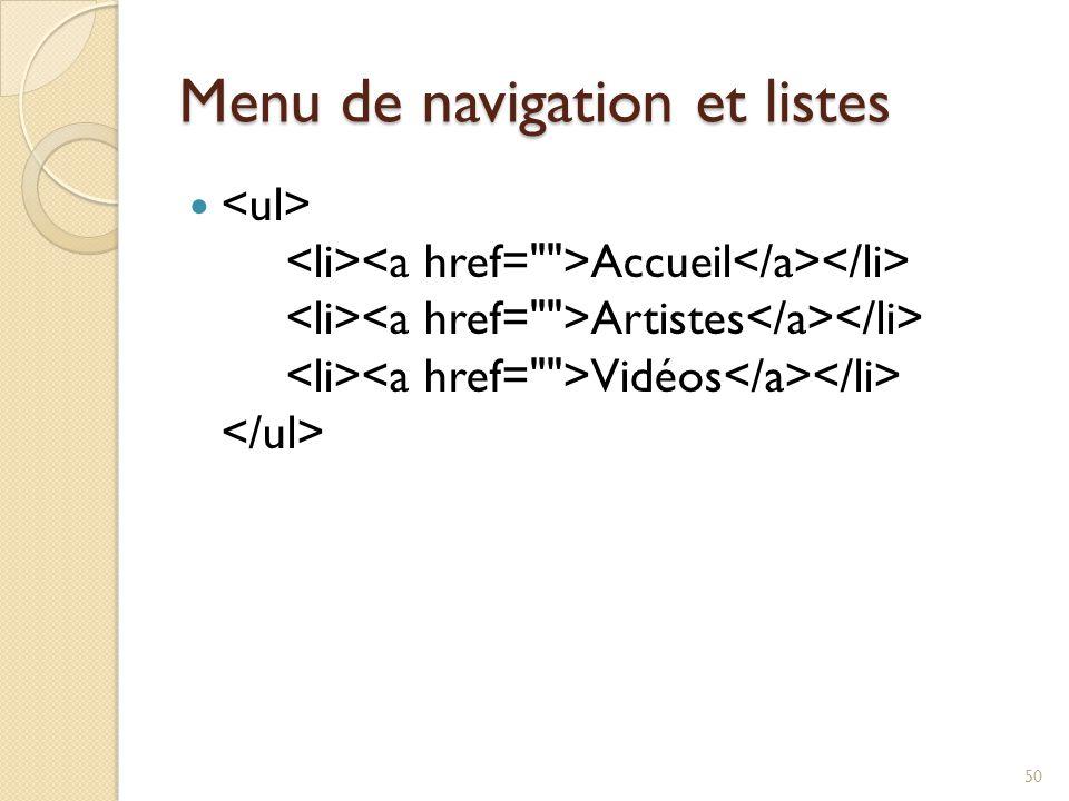 Menu de navigation et listes