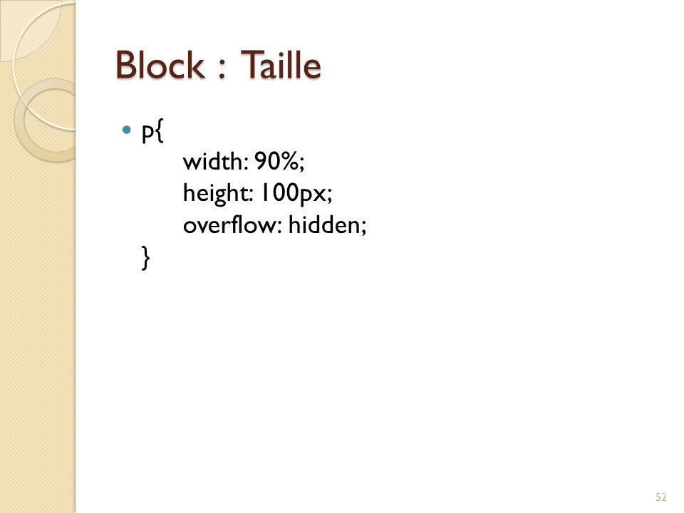 Block : Taille p{ width: 90%; height: 100px; overflow: hidden; }