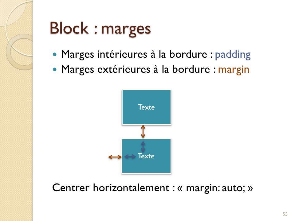 Block : marges Marges intérieures à la bordure : padding