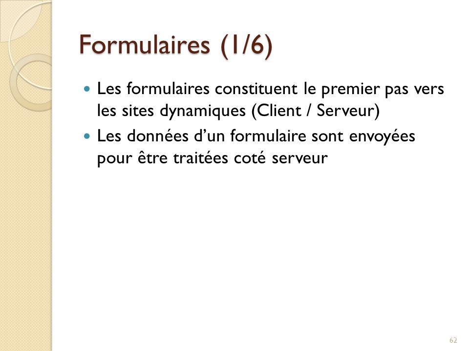 Formulaires (1/6) Les formulaires constituent le premier pas vers les sites dynamiques (Client / Serveur)