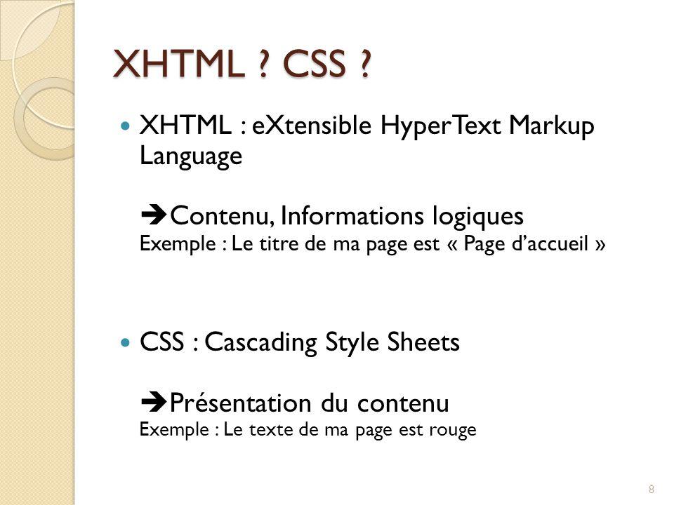 XHTML CSS XHTML : eXtensible HyperText Markup Language Contenu, Informations logiques Exemple : Le titre de ma page est « Page d'accueil »