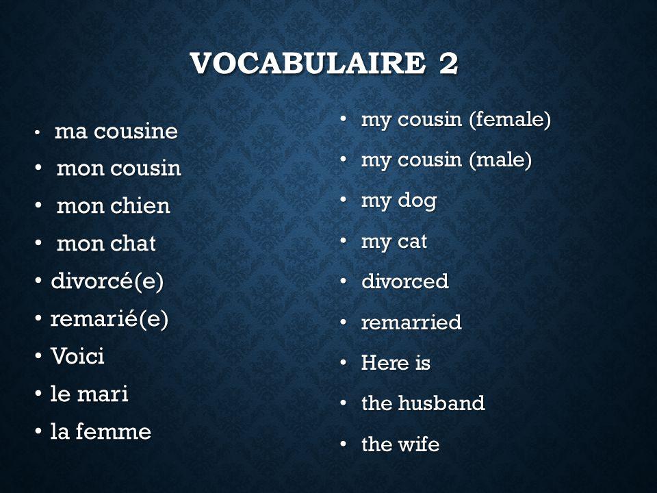 Vocabulaire 2 mon cousin mon chien mon chat divorcé(e) remarié(e)