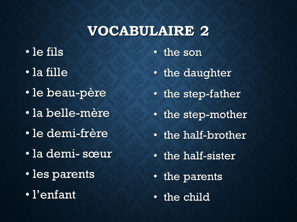 Vocabulaire 2 le fils la fille le beau-père la belle-mère