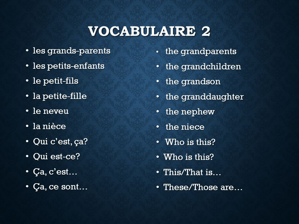 Vocabulaire 2 les grands-parents les petits-enfants the grandchildren