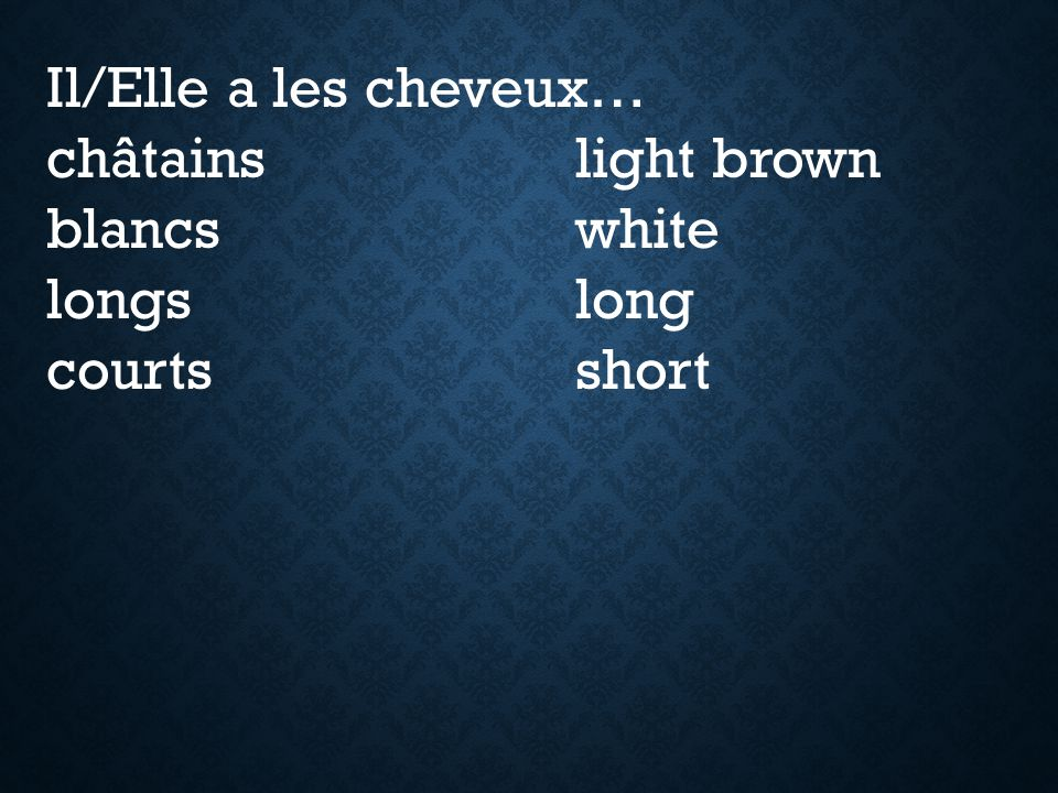 Il/Elle a les cheveux… châtains light brown blancs white longs long courts short
