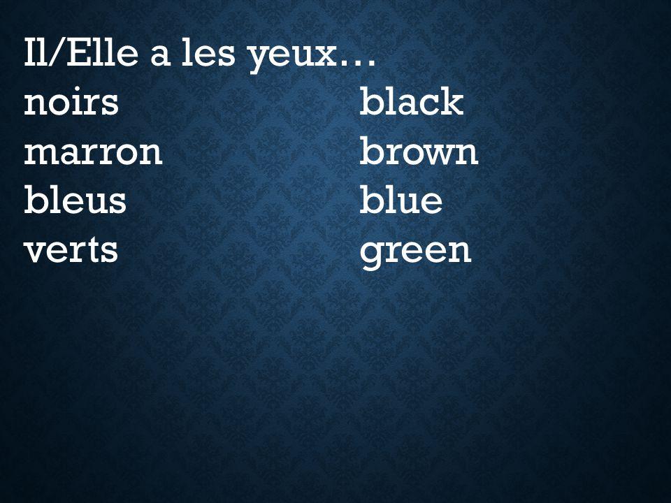 Il/Elle a les yeux… noirs black marron brown bleus blue verts green