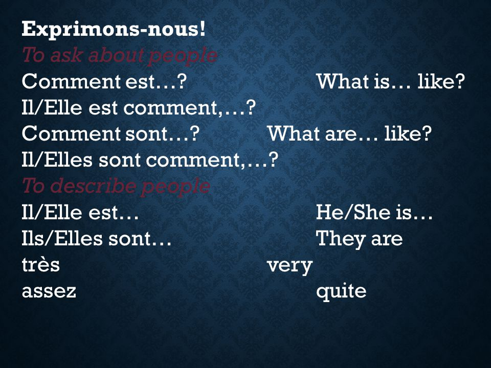 Exprimons-nous! To ask about people. Comment est… What is… like Il/Elle est comment,… Comment sont… What are… like