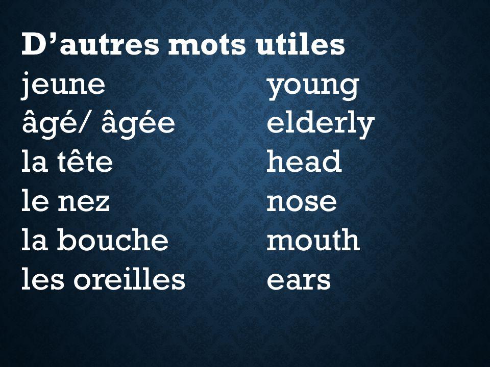 D'autres mots utiles jeune young. âgé/ âgée elderly. la tête head. le nez nose. la bouche mouth.
