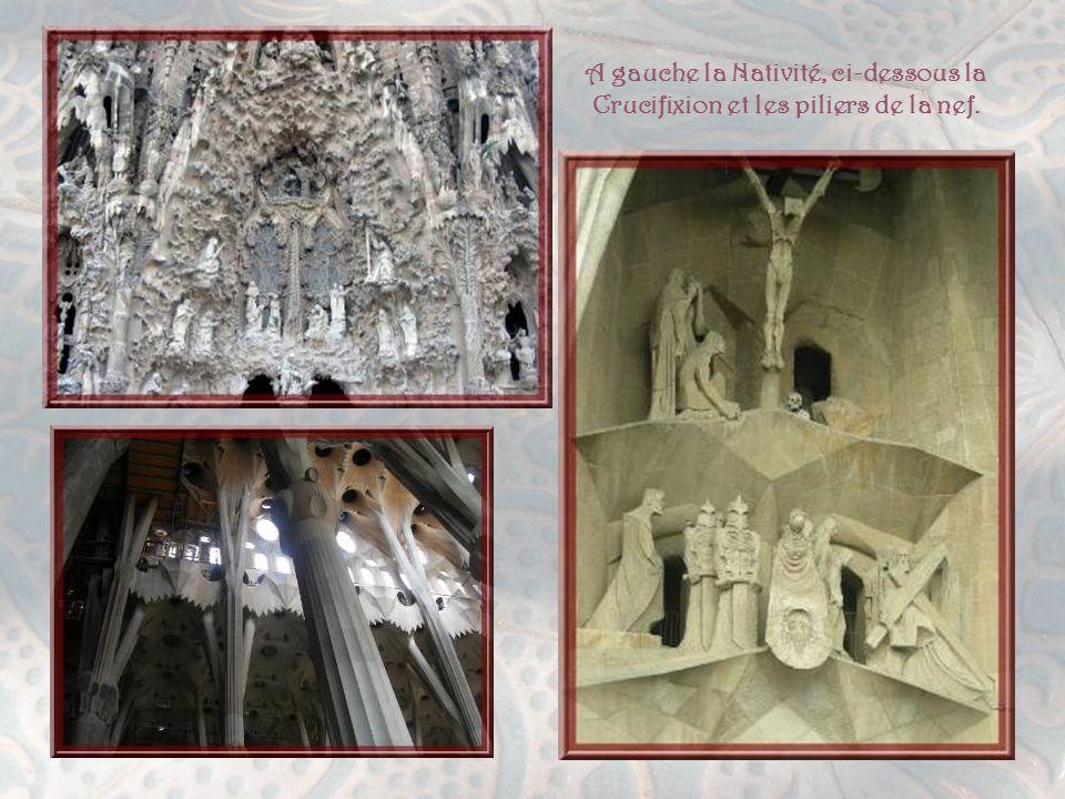 A gauche la Nativité, ci-dessous la Crucifixion et les piliers de la nef.